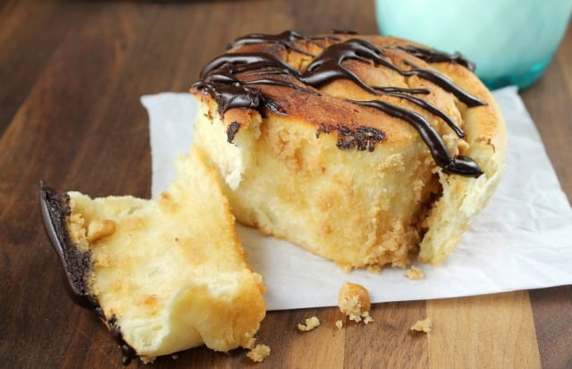 Peanut Butter Sweet Rolls with Chocolate Drizzle Recipe ~ missinthekitchen.com