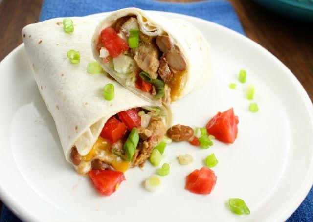 Slow Cooker 5 Ingredient Mexican Chicken Burrito ~ missinthekitchen