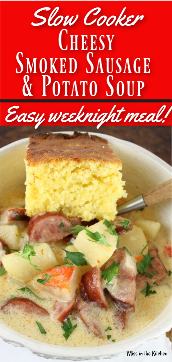 Slow Cooker Cheesy Smoked Sausage and Potato Soup Recipe