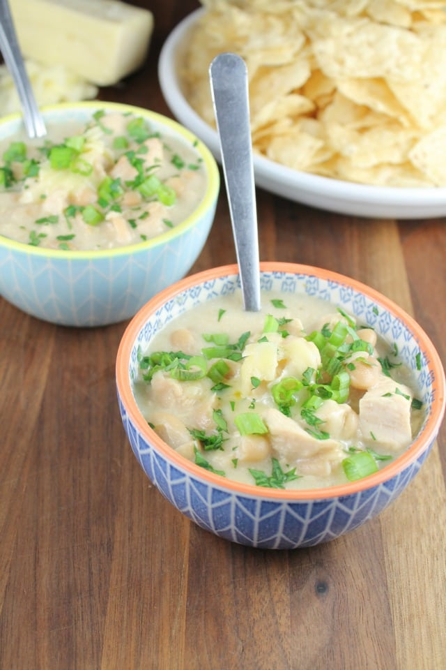 Slow Cooker Cheesy Chicken Chili Recipe from Miss in the Kitchen