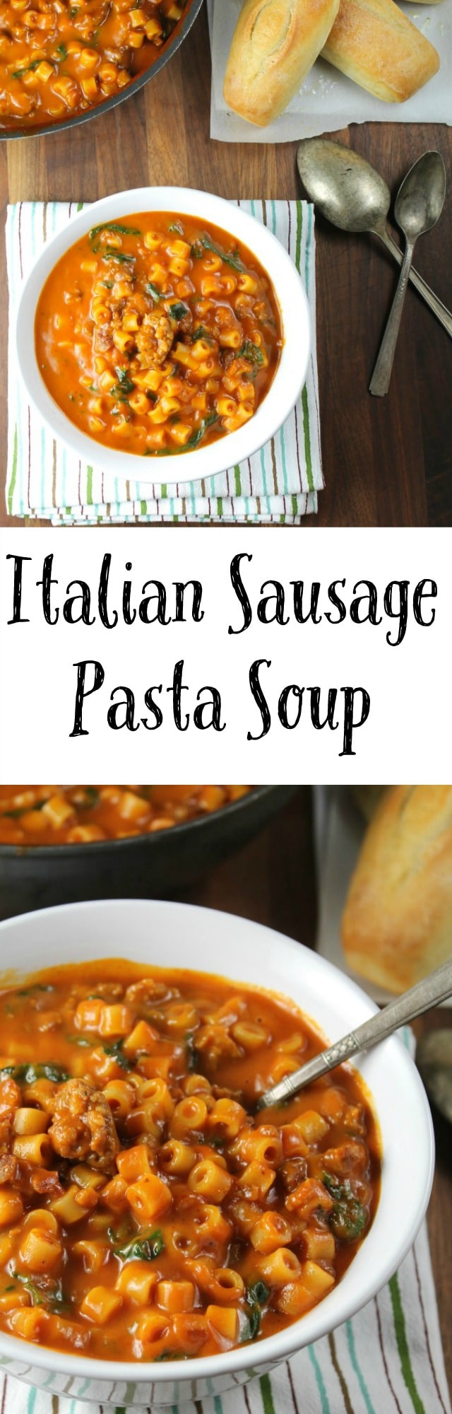 Italian Sausage Pasta Soup Recipe found at Miss in the Kitchen #sponsored #NourishEveryBody
