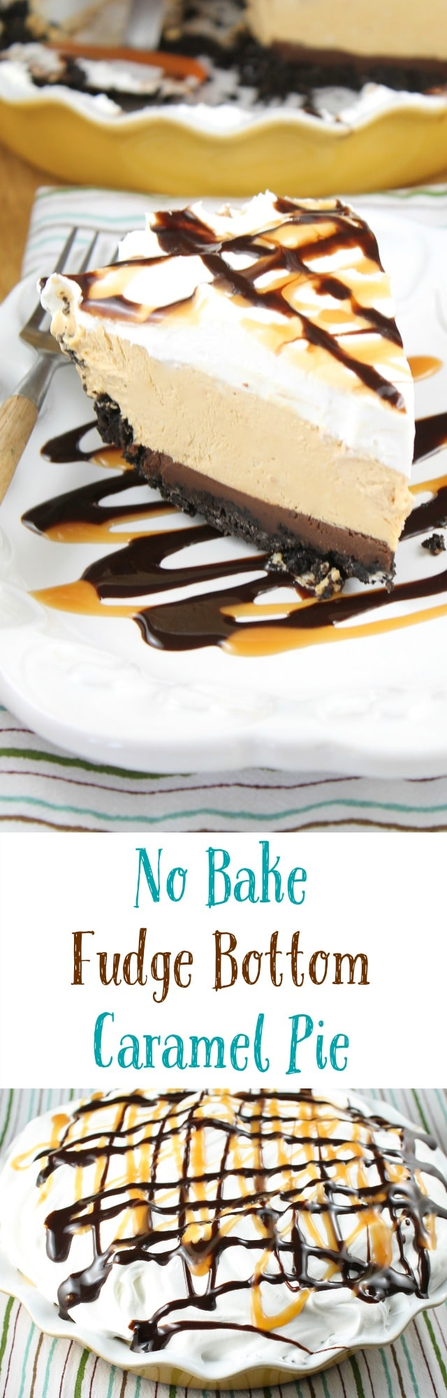 No Bake Fudge Bottom Caramel Pie Recipe found at missinthekitchen.com #WayfairPieBakeOff