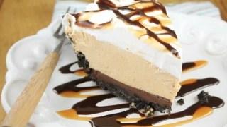 No Bake Fudge Bottom Caramel Pie