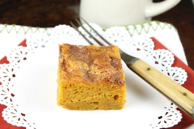 Pumpkin Snickerdoodle Snack Cake from missinthekitchen.com