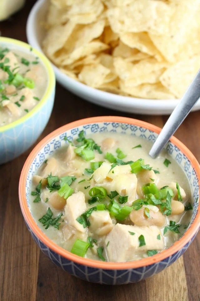 Recipe for Slow Cooker Cheesy Chicken Chili from Miss in the Kitchen