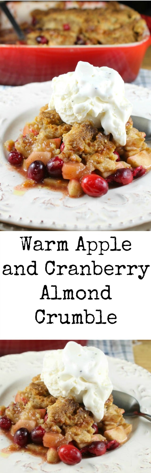 Delicious dessert to bake for the holidays! Warm Apple and Cranberry Almond Crumble from Le French Oven Cookbook ~ Recipe found at missinthekitchen.com