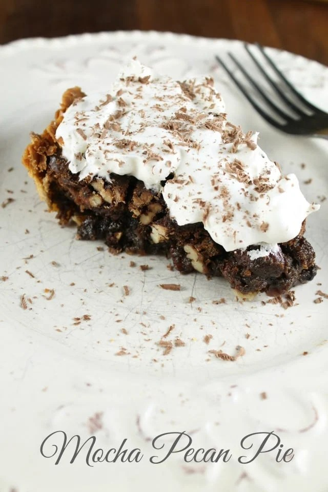 Mocha Pecan Pie Recipe that would be a great addition to your holiday dinners from Miss in the Kitchen