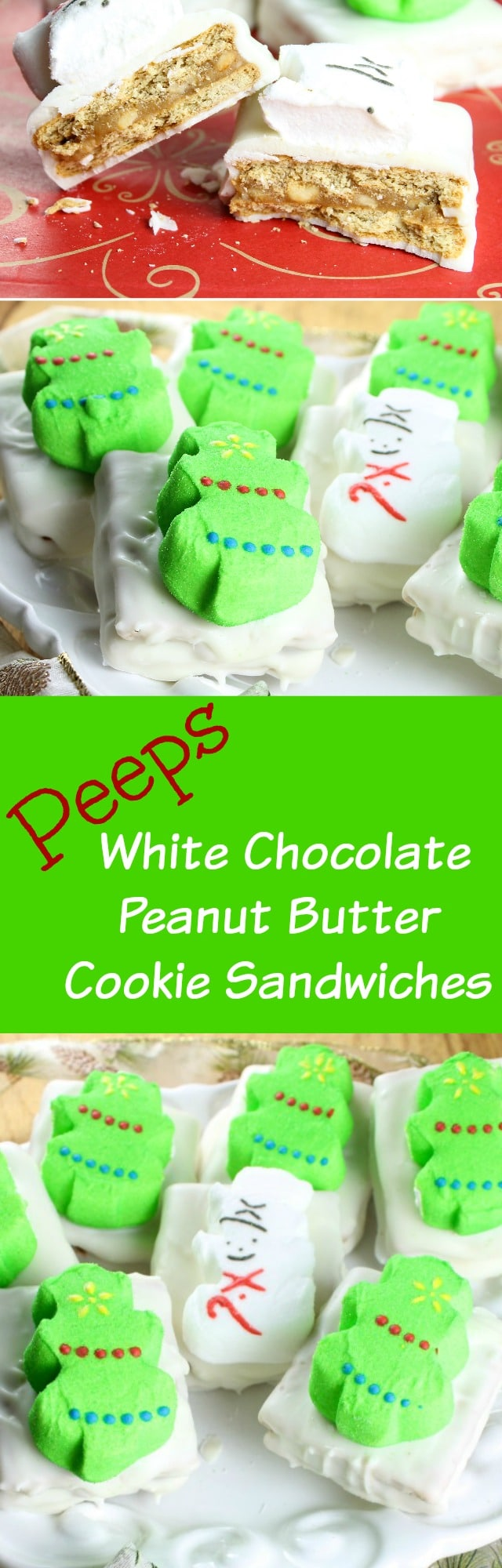 Peeps White Chocolate Peanut Butter Cookie Sandwiches Recipe found at Miss in the Kitchen