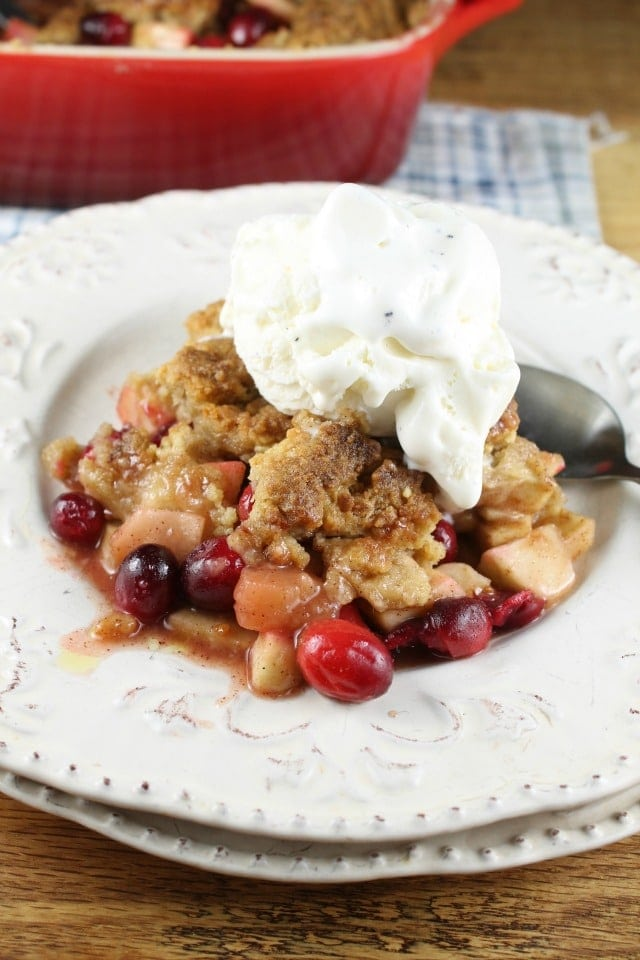 Warm Apple and Cranberry Almond Crumble Recipe from Miss in the KItchen #VirtualPotluck