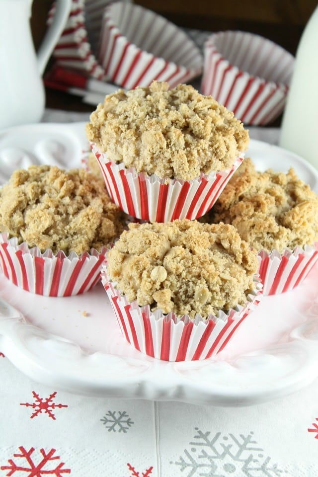Chocolate Chunk Coffee Cake Muffins Recipe with Red Star Yeast from MissintheKitchen.com #sponsored