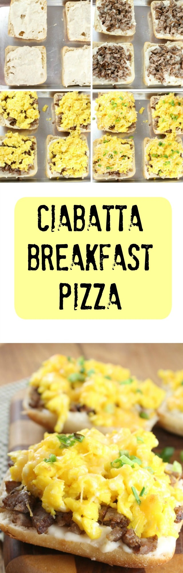 Ciabatta Breakfast Pizza is a filling a delicious meal for anytime of day. Made with Blue Sky Family Farms Free Range Eggs. Find the recipe at MissintheKitchen.com #sponsored