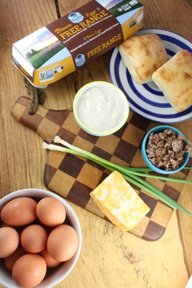 Ingredients for Ciabatta Breakfast Pizza from MissintheKitchen.com