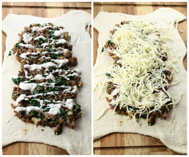 Filling the pizza dough for Zesty Sausage and Spinach Ranch Rolls ~ missinthekitchen.com