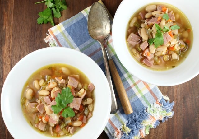 Bowls of One Hour Ham and White Bean Soup
