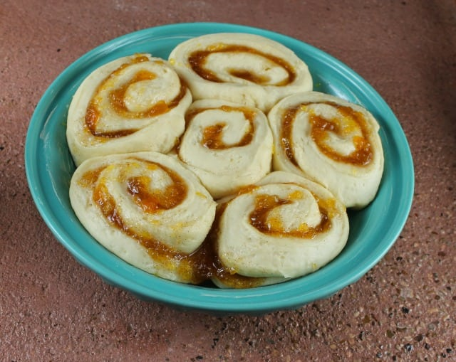 Peach Pie Cinnamon Rolls Ready to Bake from Miss in the Kitchen