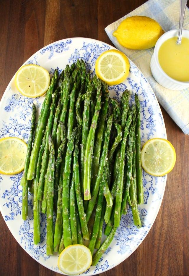 Roasted Garlic Asparagus with Lemon Sauce Recipe from MissintheKitchen.com