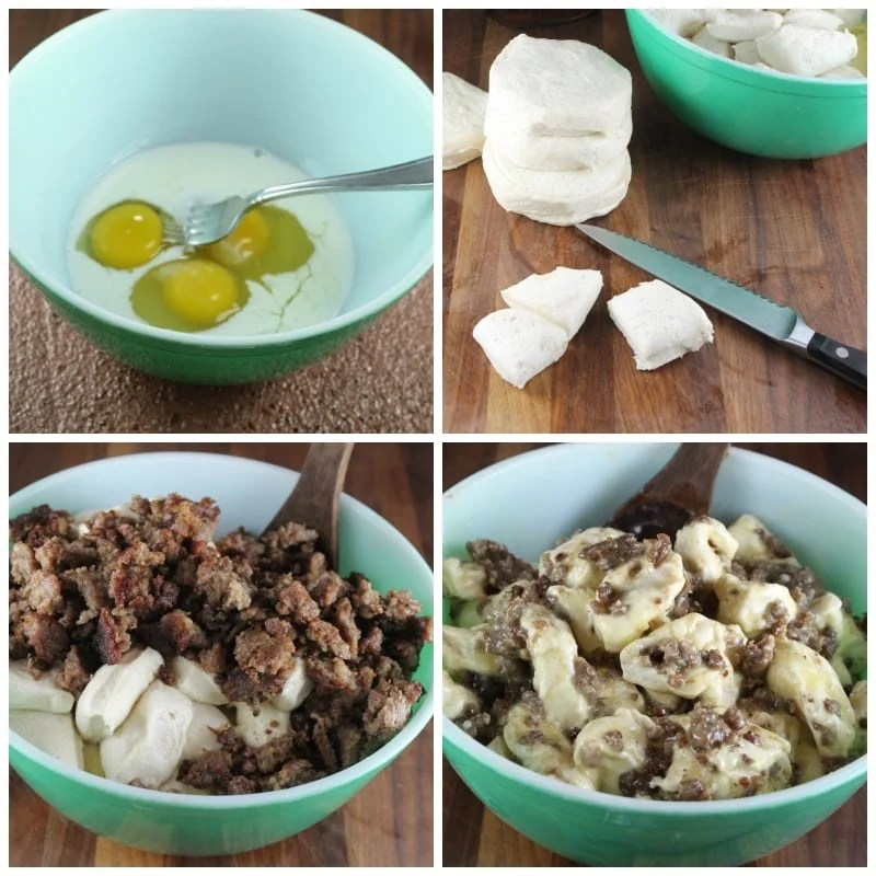 Steps for Sausage Monkey Bread Muffins from MissintheKitchen.com