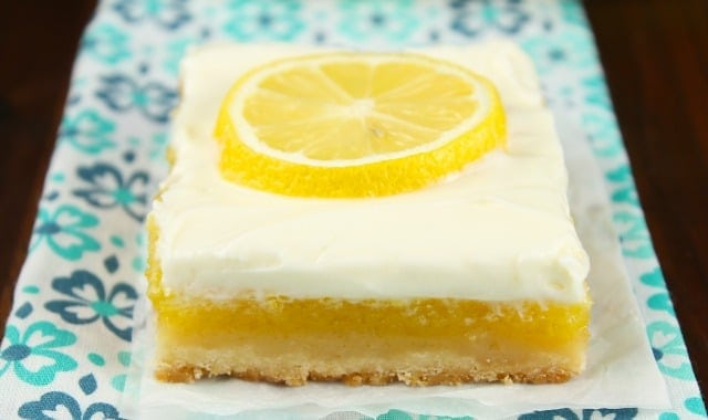 Lemon Bars with Cream Cheese Icing Recipe | MissintheKitchen