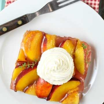 Peach Slab Pie Recipe is perfect for summer get togethers! From MissintheKitchen