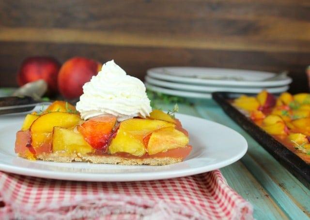 Peach Slab Pie Dessert Recipe from MissintheKitchen.com