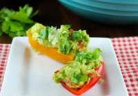 Pineapple Guacamole Recipe ~ A quick and easy appetizer that is health and delicious served up with mini sweet peppers! From Miss in the Kitchen