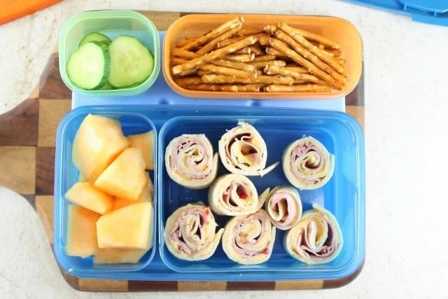Ham and Pimento Cheese Rollups for Easy Lunch Box Ideas from Miss in the Kitchen with Rubbermaid LunchBlox #ad