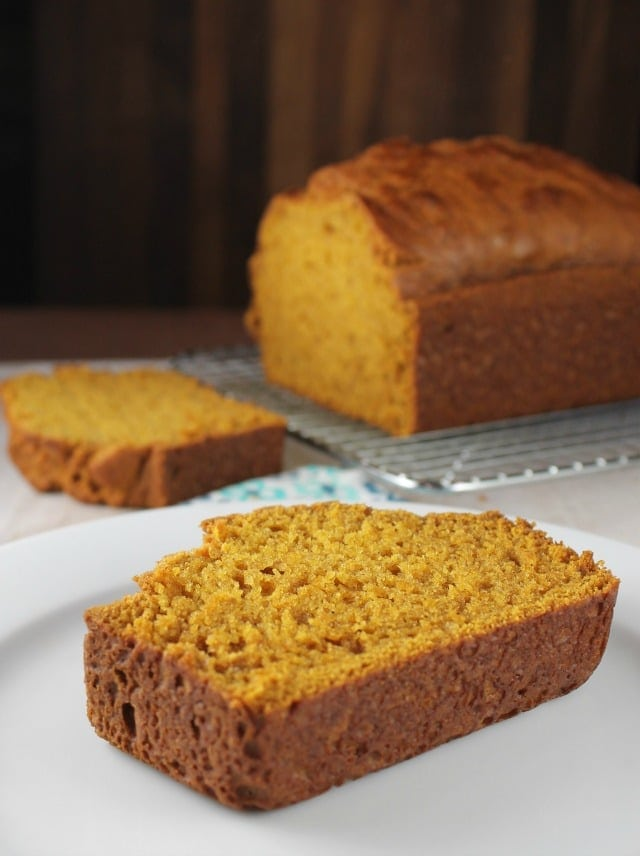 Easy Pumpkin Bread Recipe comes together in one bowl with no mixer required. A great fall baking recipe. From MissintheKitchen.com