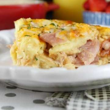 Ham and Cheese Breakfast Casserole Recipe ~ Easy & Delicious! From MissintheKitchen.com #ad