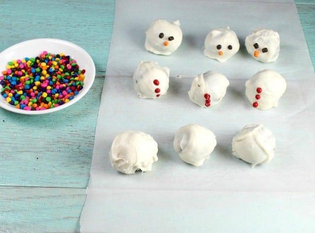 OREO Cookie Ball Snowmen before assembly- MissintheKitchen.com