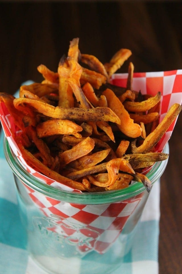 Sweet Potato Fries Recipe ~ the perfect side dish for burgers and more! From the TCHS Cookbook ~ MissintheKitchen.com #ad
