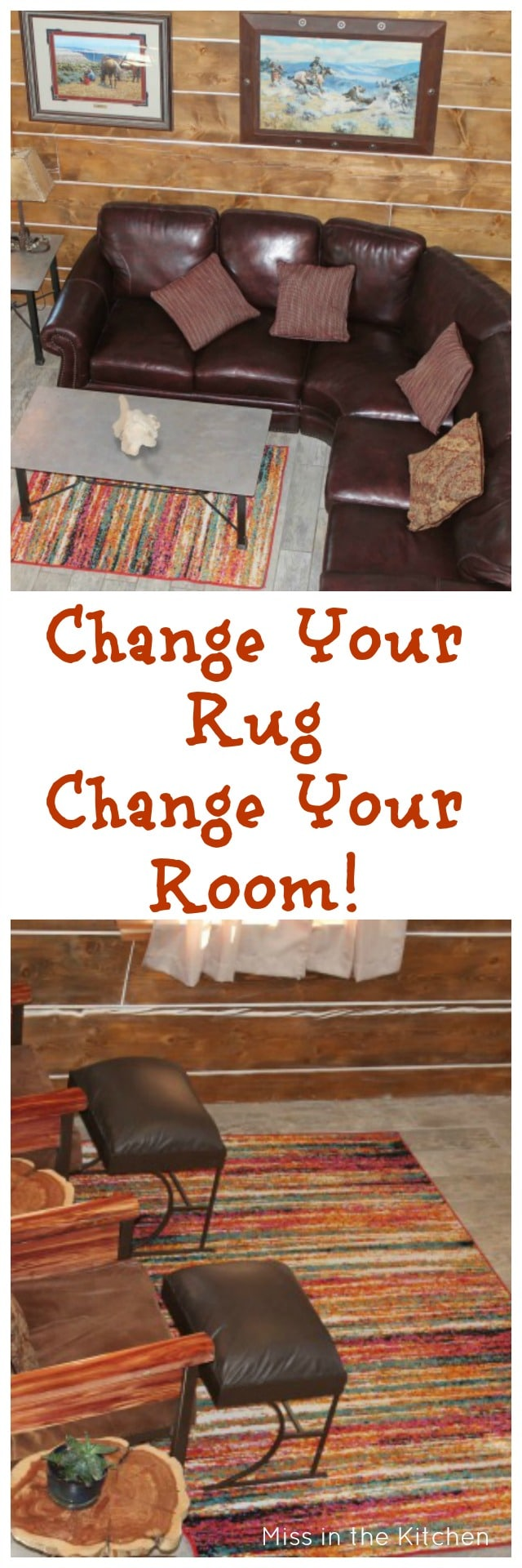 Change Your Rug Change Your Room ~ Log Cabin Living Room Update from MissintheKitchen.com #ad WIth Wayfair