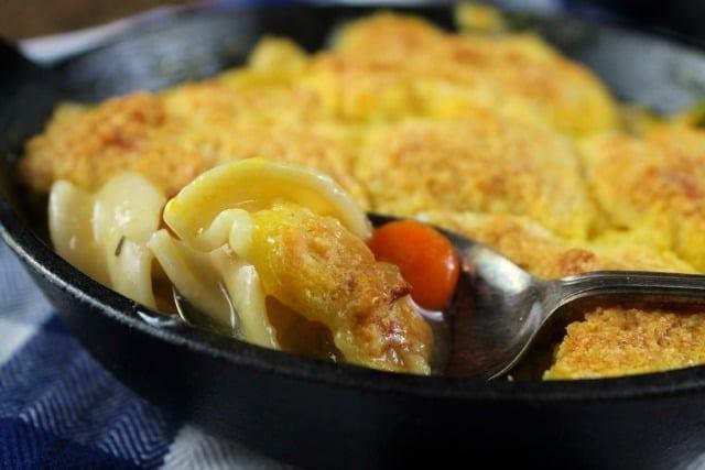 Recipe for Cheesy Cornbread Chicken Noodle Pot Pie   MissintheKitchen.com #ad