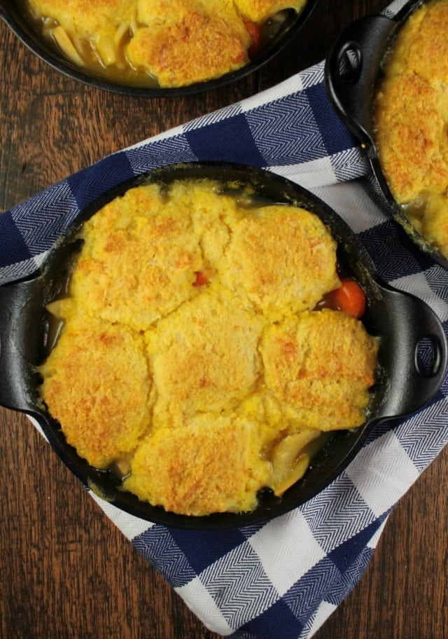 Cheesy Cornbread Chicken Noodle Pot Pie with Progresso Chicken and Homestyle Noodle Soup from MissintheKitchen.com #ad