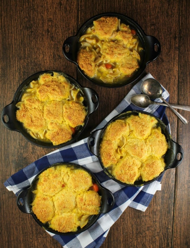 Delicious comfort food dinner: Cheesy Cornbread Chicken Noodle Pot Pie Recipe from MissintheKitchen.com #ad