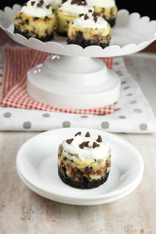 Mini Chocolate Chip Cheesecakes Recipe for parties and holiday gatherings. From MissintheKitchen.com