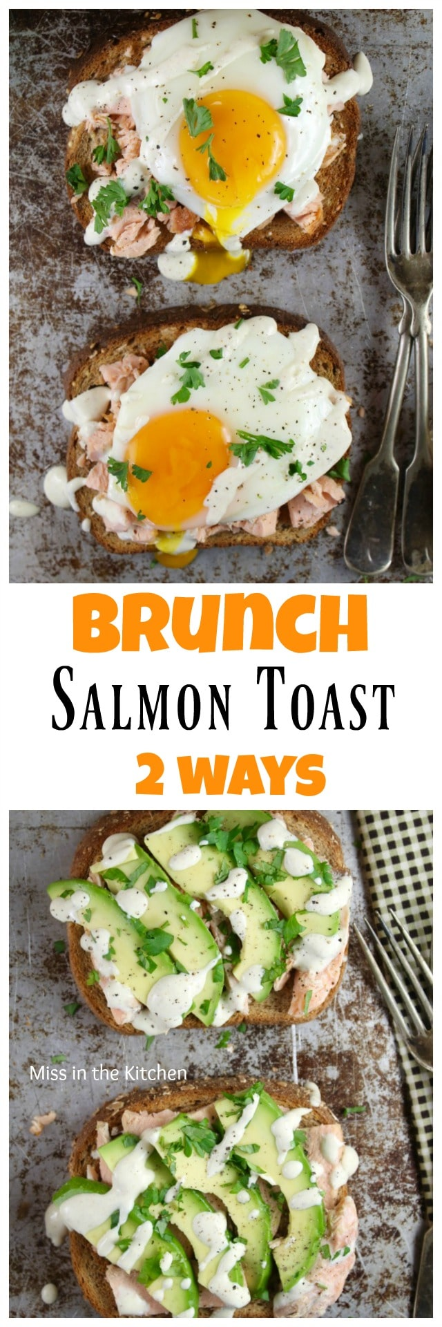 Salmon Toast Two Ways with Pepperidge Farm Harvest Grains Bread from MissintheKitchen.com #ad