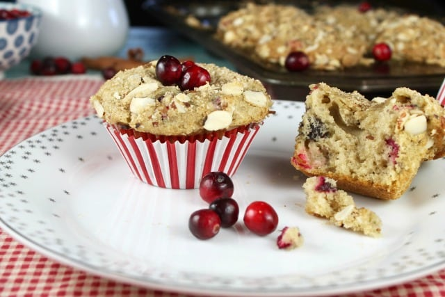 Cranberry Almond Muffins Recipe from MissintheKitchen Great for holiday mornings!