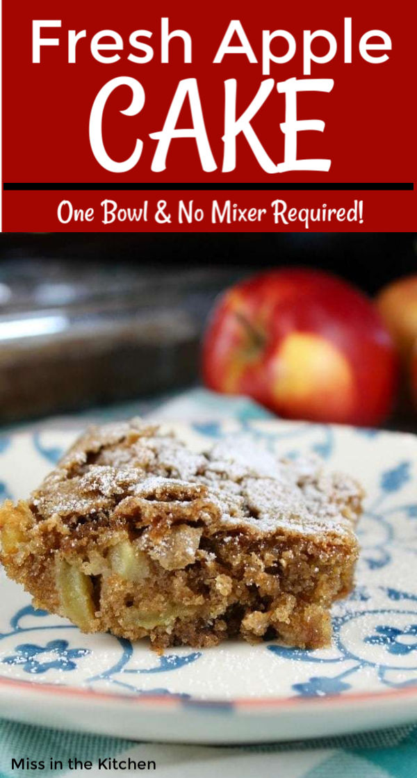 Fresh Apple Cake with text overlay