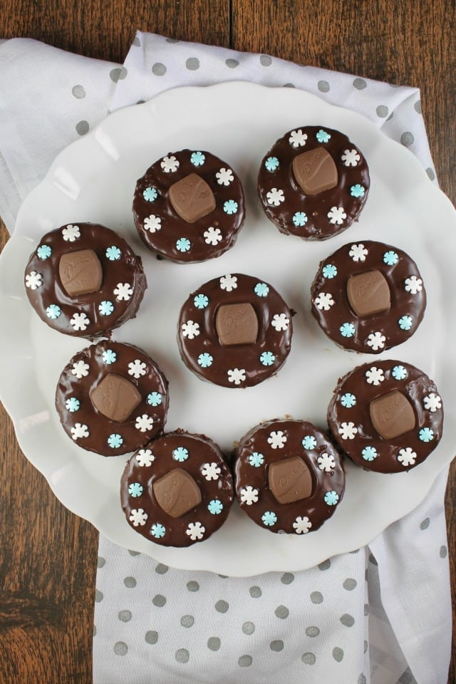 Triple Chocolate Snack Cakes are a super cute treat to bake and share for the holidays! From MissintheKitchen.com #ad