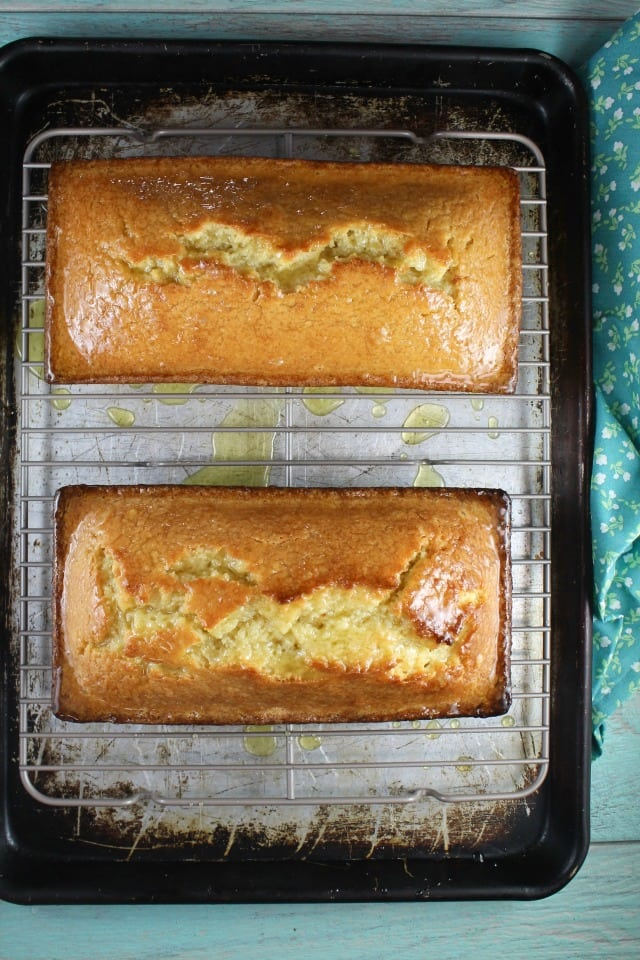 Orange Glazed Almond Bread makes 2 loaves to bake and Share. MissintheKitchen.com