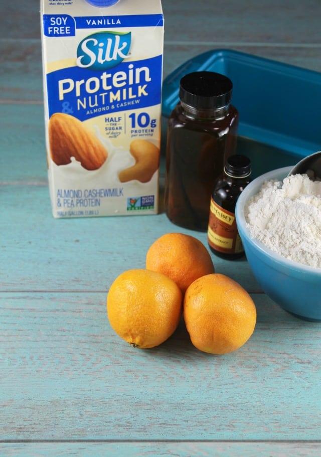 Orange Glazed Almond Bread with Silk Vanilla Protein Nut Milk | MissintheKitchen.com