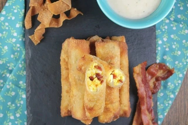 Bacon, Egg and Cheese Egg Rolls Recipe ~ MissintheKitchen