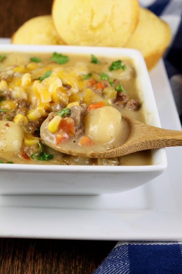 Cheeseburger Gnocchi Soup Recipe from MissintheKitchen.com