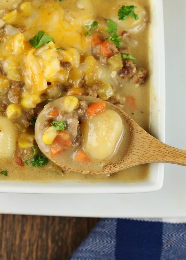 Cheeseburger Gnocchi Soup is a comforting and delicious dinner that the entire family can agree on! Recipe from MissintheKitchen.com