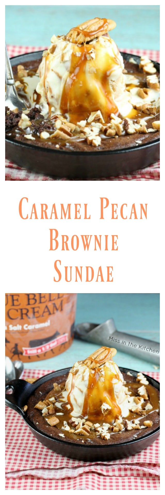 Caramel Pecan Brownie Sundae Recipe for two ~ perfect for romantic dinners and Valentine's Day from MissintheKitchen.com