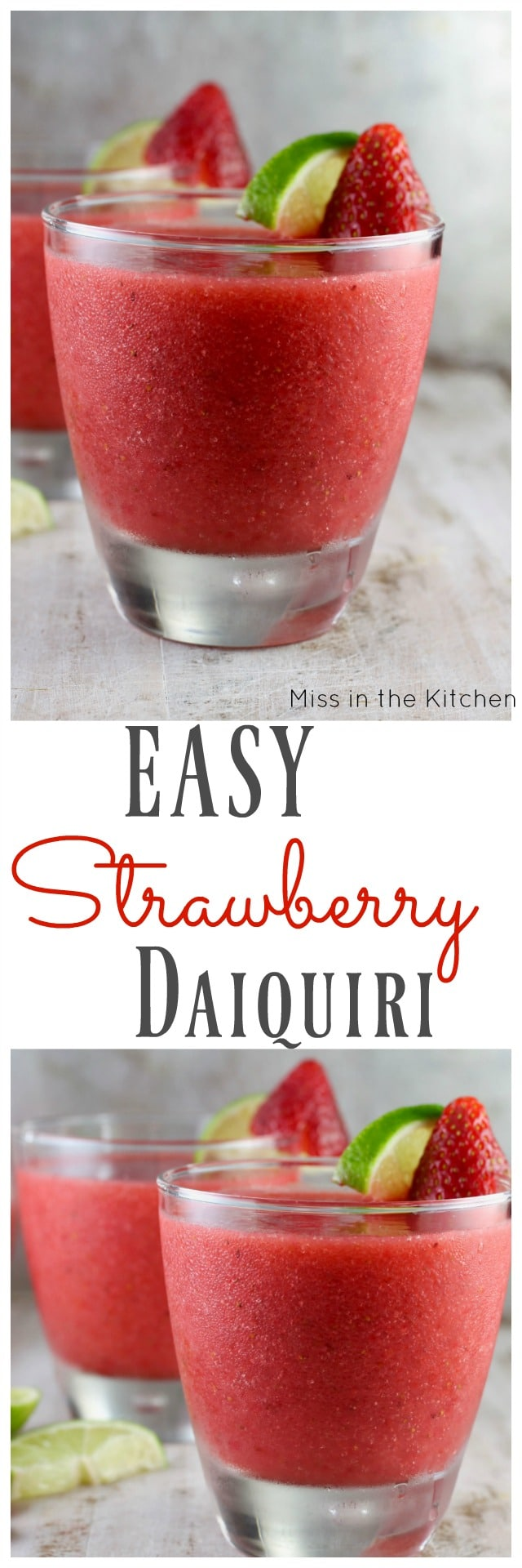 Easy Strawberry Daiquiri Cocktail ~ Perfect weekend cocktail recipe found at MissintheKitchen.com