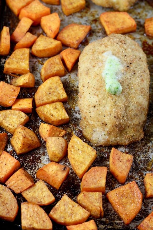 Barber Foods Stuffed Chicken Sweet Potato Sheet Pan Meal Recipe from MissintheKitchen. com #sponsored