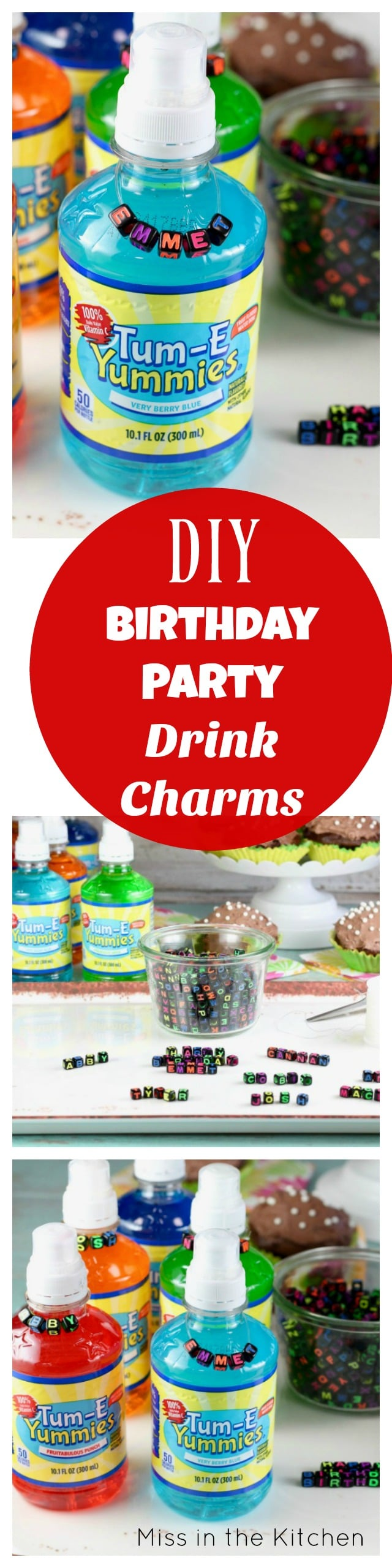 DIY Birthday Party Drink Charms Tutorial from MissintheKitchen.com