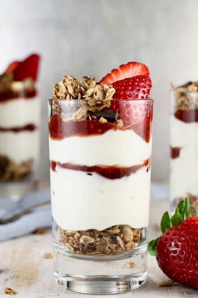 No Bake Strawberry Cheesecake Breakfast Parfaits are the ultimate way to start your day! Recipe found at MissintheKitchen.com #sponsored
