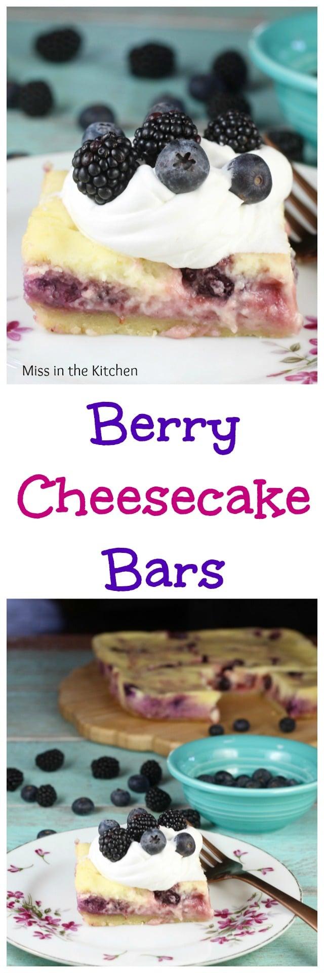 Berry Cheesecake Bars ~ Easy Dessert Recipe from MissintheKitchen.com